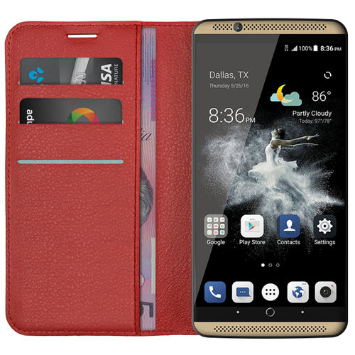 Leather Wallet Case & Card Holder Pouch for ZTE Axon 7 - Red